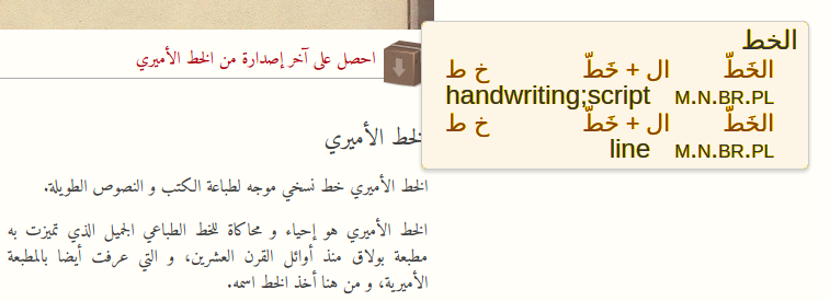 Screenshot showing Fahm in use. The web site used as example is the Amiri font website